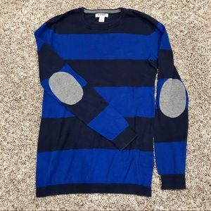 Old Navy Blue Striped Sweater w/ grey elbow patch